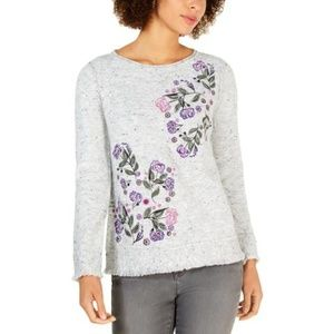 Women's Embroidered Floral Pullover Sweater